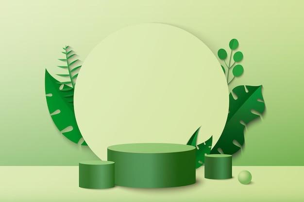 Scena minima astratta con podio cilindrico di forme geometriche su sfondo verde con foglie di piante verdi