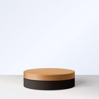 Scena minima astratta con forme geometriche. cilindro in legno e podio nero. presentazione del prodotto. podio, piedistallo o piattaforma. 3d