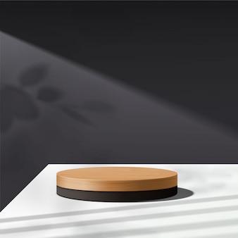 Scena minima astratta con forme geometriche. podio di legno del cilindro nel fondo nero con le foglie. presentazione del prodotto. podio, piedistallo o piattaforma. 3d
