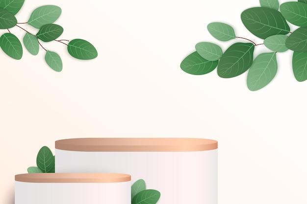 Scena minimale astratta con podio in legno cilindrico di forme geometriche su sfondo nero con foglie