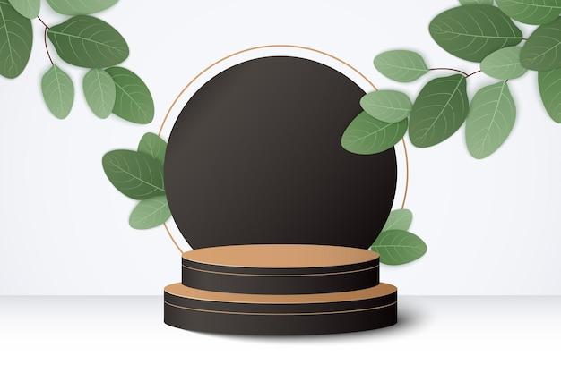 Scena minimale astratta con forme geometriche. podio cilindrico in legno nero con foglie.