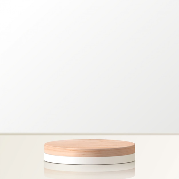 Scena minima astratta con forme geometriche. podio in legno a cilindro. presentazione del prodotto. podio, piedistallo o piattaforma. 3d