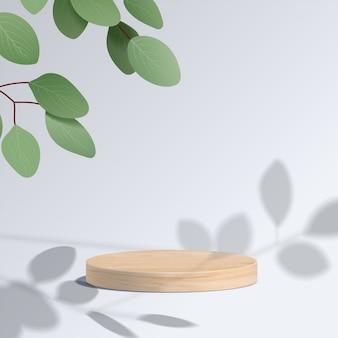 Scena minima astratta con forme geometriche. podio di legno del cilindro nel fondo bianco con le foglie. presentazione del prodotto, modello, spettacolo di prodotti cosmetici, podio, piedistallo o piattaforma. 3d