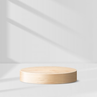 Scena minima astratta con forme geometriche. podio in legno a cilindro con foglie. presentazione del prodotto. podio, piedistallo o piattaforma. 3d