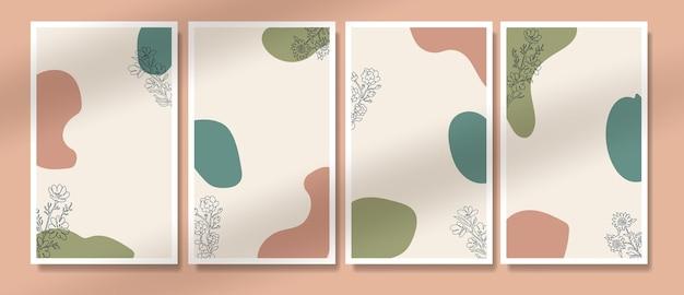 Forme astratte minimali e poster boho di fiori di line art