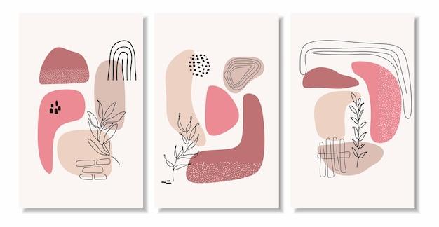Forme minime astratte e foglia d'arte al tratto