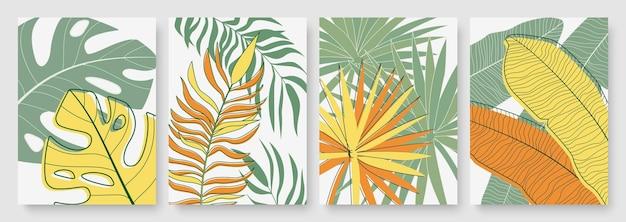 La palma tropicale verde gialla minima astratta lascia l'insieme minimalista del fondo