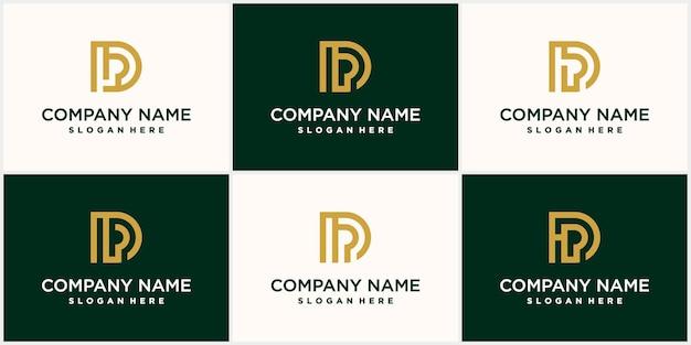 Set di lettere d minimalista astratto con un lussuoso design d