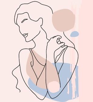 Figura femminile minimalista astratta disegno in stile una linea collage moderno astratto di forme geometriche