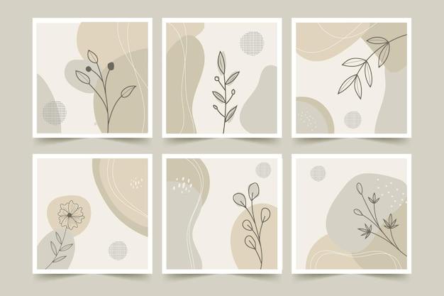 Set di poster di sfondo minimalista astratto di fiori e foglie