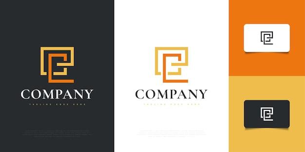 Modello astratto e minimalista di progettazione del logo della lettera e con lo stile della linea. simbolo grafico dell'alfabeto per l'identità aziendale aziendale