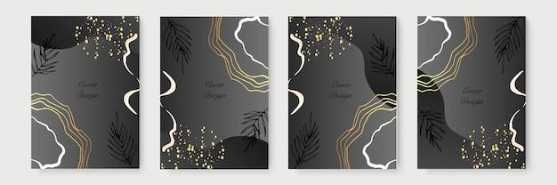 Collezione di poster minimalista astratto con linee floreali dorate su sfondo nero. design di banner di lusso. formato a4. ideale per volantini, confezioni, inviti, copertine, biglietti da visita