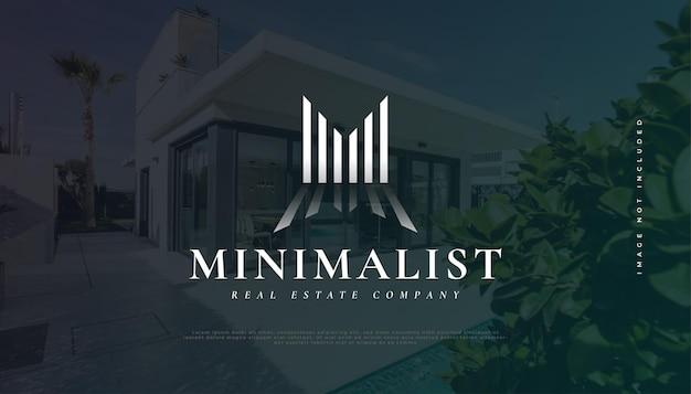 Design minimalista astratto del logo immobiliare con la lettera iniziale m. costruzione, architettura o edificio logo design
