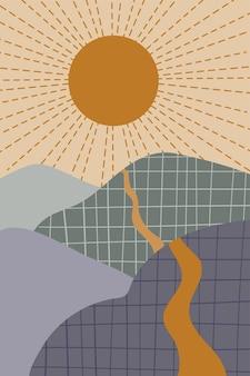 Paesaggio retrò minimalista astratto con il sole e la strada delle montagne