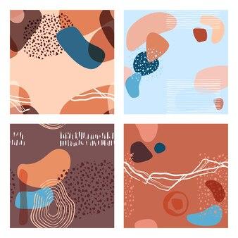 Modello astratto minimalista senza cuciture con forme sovrapposte in stile alla moda, utilizzato per social media, modello di storie, decorazione, confezione, tessuti, tessuto, design di copertina. illustrazione vettoriale.