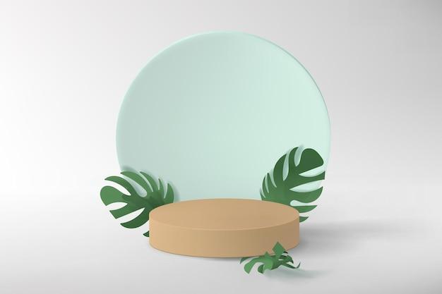 Fondo minimalista astratto con forme geometriche, piedistallo vuoto per l'esposizione del prodotto, decorato con foglie di monstera. illustrazione realistica in colori pastello.