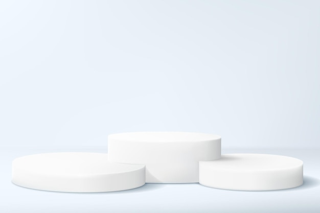 Fondo minimalista astratto con una serie di cilindri in colori chiari. piedistalli vuoti per esporre una collezione di prodotti o per un premio.