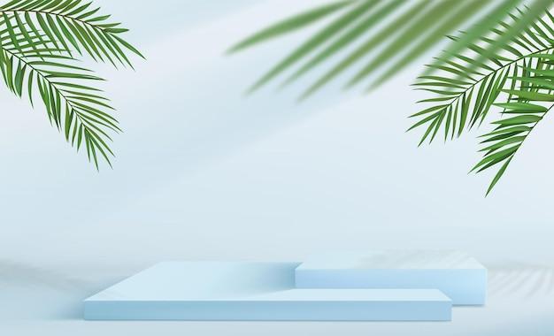 Sfondo minimalista astratto con una serie di piedistalli quadrati nei toni del blu. podio vuoto per esposizione prodotti con decorazioni in foglia di palma tropicale.
