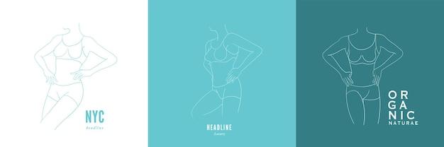 Figura femminile minimalista astratta in biancheria intima. vettore del corpo femminile in uno stile lineare alla moda.
