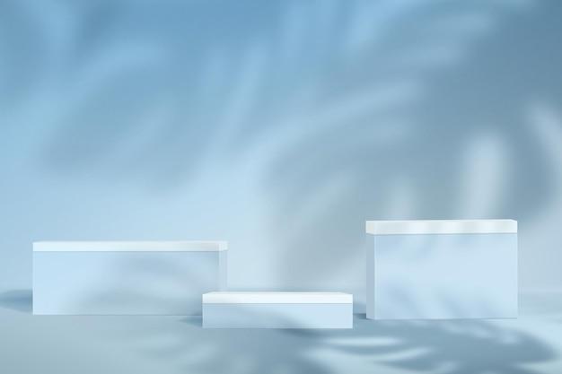 Scena minimalista astratta nei colori blu pastello. mockup di sfondo per la dimostrazione del prodotto con mostri di ombre.