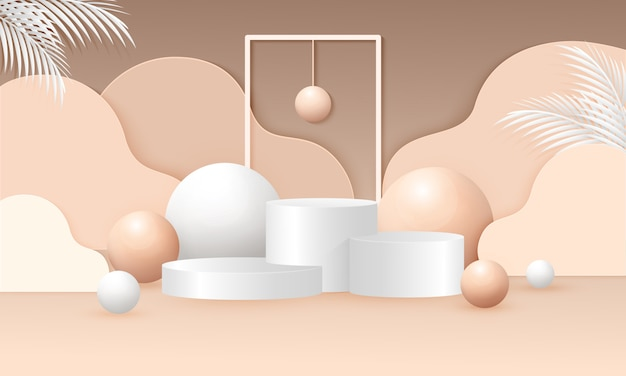 Abstract mock up illustrazione di scena con forma geometrica del podio