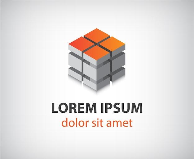 Logo moderno astratto della costruzione del cubo 3d isolato