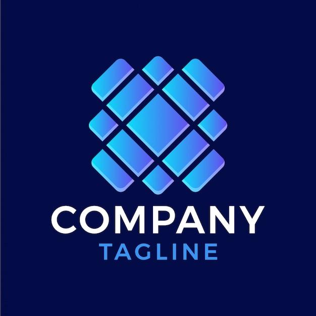 Logo moderno astratto di pendenza di vetro quadrato della lettera x 3d