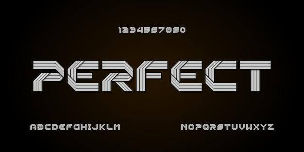 Fonte di alfabeto moderno astratto. caratteri tipografici in stile urbano per tecnologia, digitale, film, logo