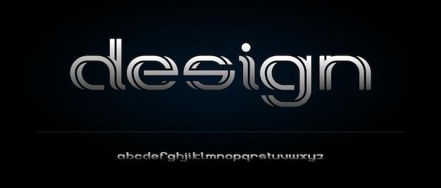 Fonte tipografica moderna astratta di alfabeto con modello di stile urbano