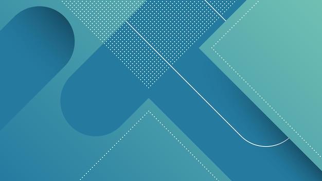 Fondo moderno astratto con linee diagonali ed elemento di memphis e colore sfumato vibrante blu