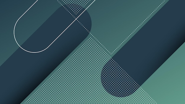 Fondo moderno astratto con linee diagonali ed elemento di memphis e colore sfumato vibrante blu scuro