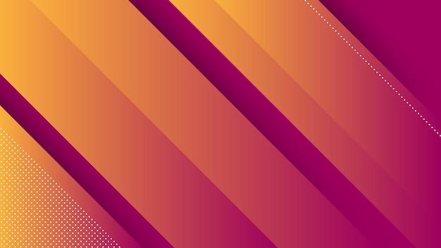 Fondo moderno astratto con linee diagonali ed elemento di memphis e colore sfumato vibrante viola arancione