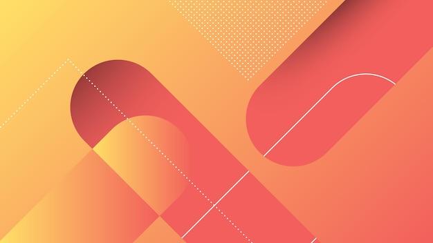 Fondo moderno astratto con linee diagonali ed elemento di memphis e colore sfumato vibrante arancione rosso