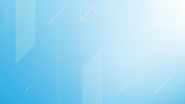 Fondo moderno astratto con gradiente di colore azzurro ed elemento di memphis