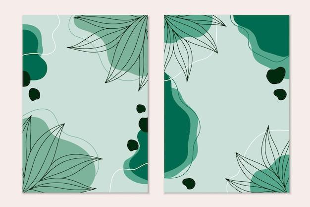 Fondo moderno astratto con linee foglie su sfondo verde chiaro e spazio per il testo.