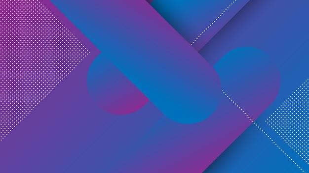 Fondo moderno astratto con elemento di memphis e colore sfumato viola blu