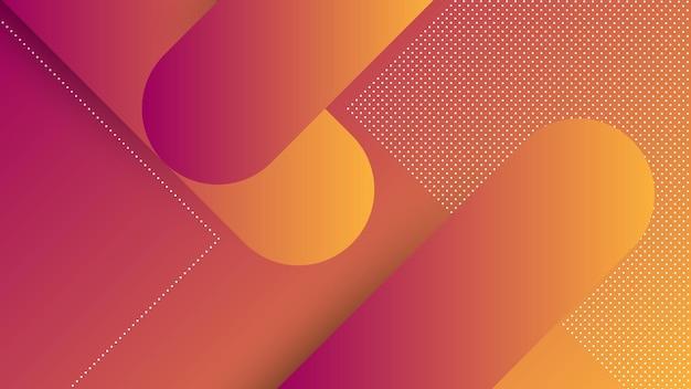 Fondo moderno astratto con elemento di memphis e colore sfumato arancione viola