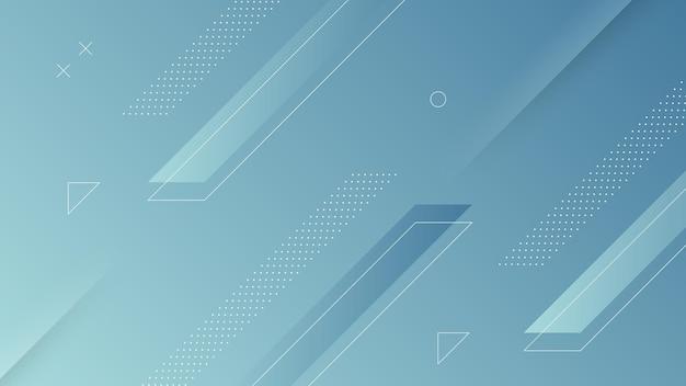 Fondo moderno astratto con gradiente di colore blu morbido ed elemento di memphis