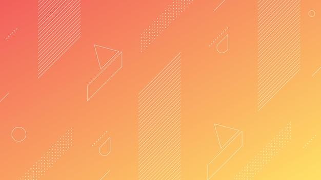 Astratto sfondo moderno con sfumatura di colore arancione pesca morbida ed elemento di memphis