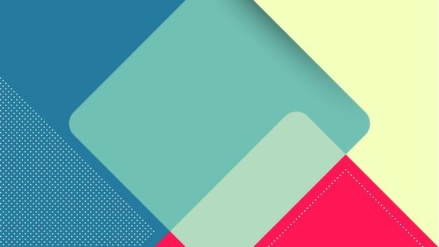 Sfondo moderno astratto con quadrato in stile papercut in giallo, blu e rosso