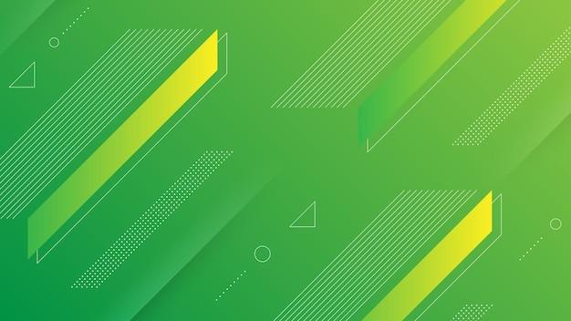 Astratto sfondo moderno con sfumatura di colore giallo verde vivace ed elemento di memphis