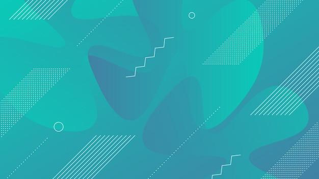 Fondo moderno astratto con gradiente di colore blu vibrante e liquido fluido ed elemento di memphis