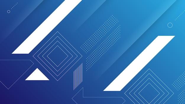 Fondo moderno astratto con gradiente di colore blu vibrante ed elemento di memphis