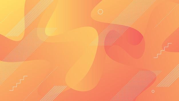 Fondo moderno astratto con gradiente di colore arancione pesca vibrante e liquido fluido ed elemento di memphis