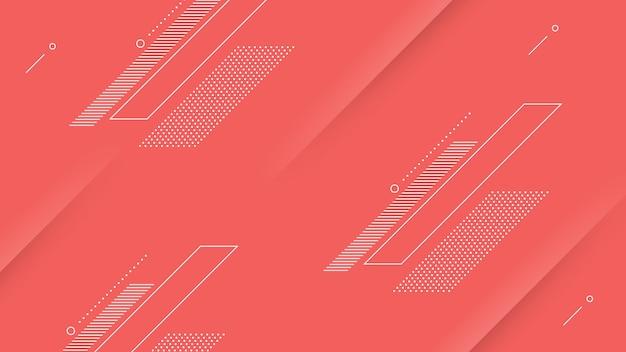 Fondo moderno astratto con colore rosa rosso vibrante ed elemento di memphis
