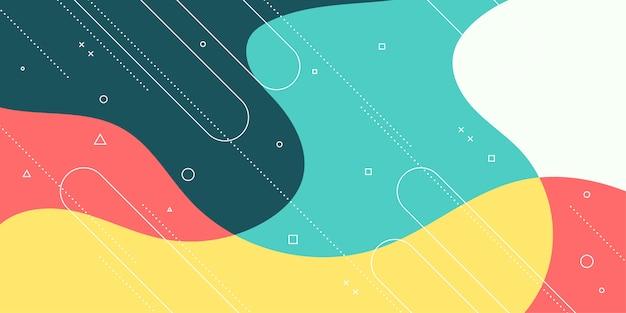 Backgrund moderno astratto con elemento di memphis e colori pastello.