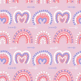 Il modello senza cuciture astratto moderno degli arcobaleni di boho con i biglietti di s. valentino ama le forme dell'hrat