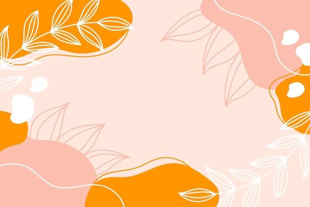 Fondo botanico moderno astratto con foglie bianche, colori rosa e gialli. sfondo con spazio per il testo.