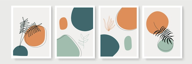 Collezione di poster boho botanico moderno astratto. poster di arte murale bohemien organico con forme astratte dell'acquerello colore pastello neutro, disegno del fogliame.