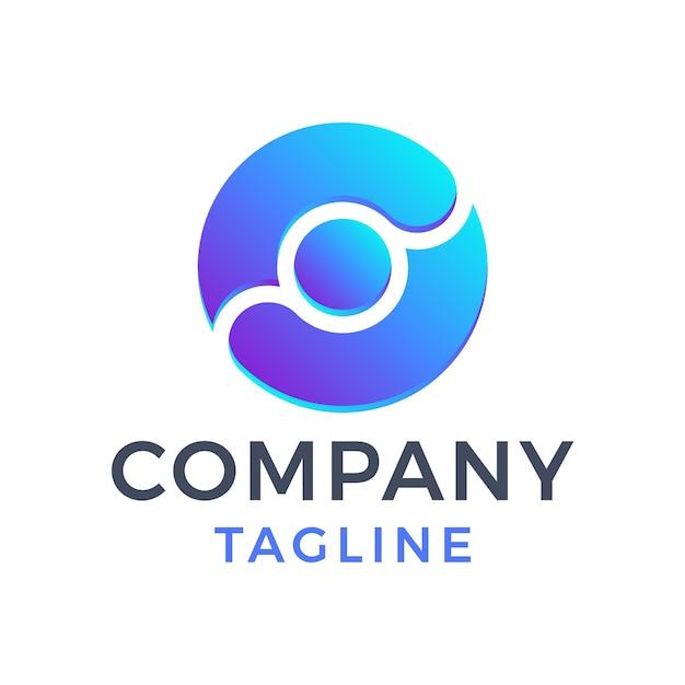 Cerchio moderno astratto lettera o gradiente blu logo design